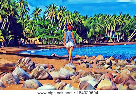 Young woman walking on tropical beach. Summer vacation colorful digital illustration. Pretty girl on beach. Romantic seashore blue sea and coco palm tree. Relaxed day by sea. Holiday leisure concept