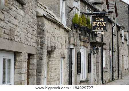 Corfe Castle Dorset United Kingdom -23 April 2017: Traditional English Pub sign in English Village