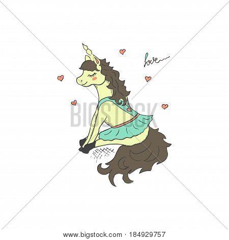 Cute unicorn in blue mini skirt. Vector hand drawn illustration.