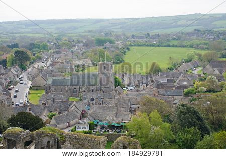 Corfe Castle Dorset United Kingdom -23 April 2017: Corfe village from above