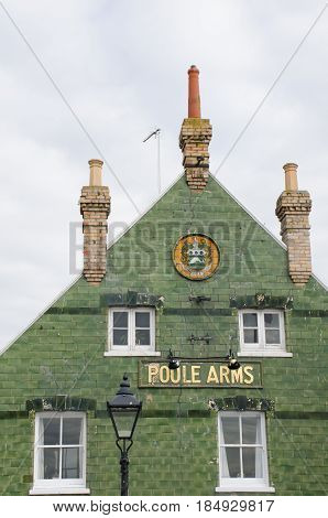 Poole Dorset United Kingdom -24 April 2017: Traditional tiled pub