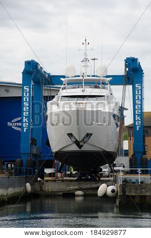 Poole Dorset United Kingdom -24 April 2017: Sunseeker Luxury Yacht under construction in dock