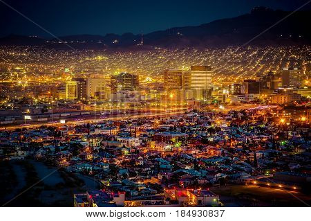 Sundown and city lights in El Paso Texas.