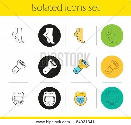 Spa salon icons set. Linear, black and color styles. Woman's feet, spa salon bath, foot file. Isolated vector illustrations