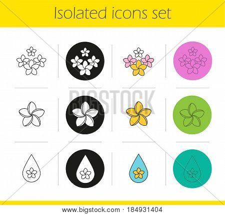 Aromatherapy icons set. Linear, black and color styles. Spa salon plumeria flowers, aroma therapy oil drop. Isolated vector illustrations