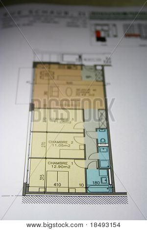 Plan of a house. Shallow DOF. Blurs progressively.