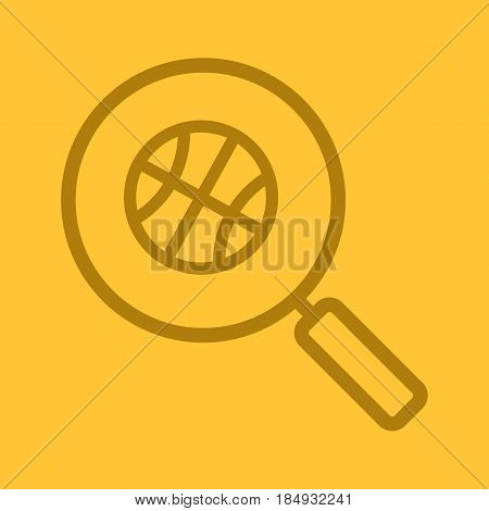 Magnifying glass with basketball ball color linear icon. Basketball game search. Thin line contour symbols on color background. Vector illustration
