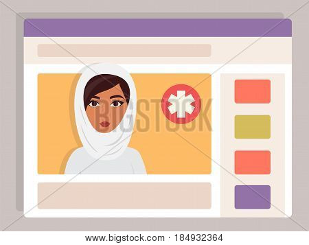 Muslim arab Doctor online. Medical consultation, internet health service. Vector illustration.