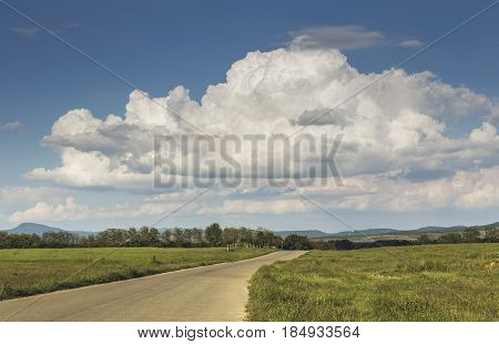 Countryside Landscape With Empty Road