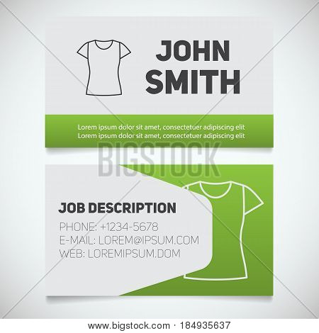 Business card print template with t-shirt logo. Women's shirts shop. Stationery design concept. Vector illustration