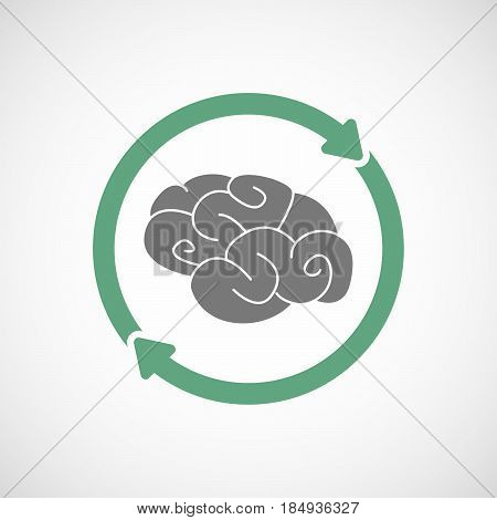 Isolated Reuse Icon With A Brain