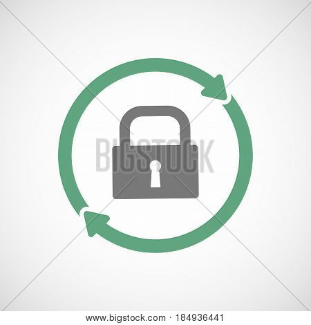 Isolated Reuse Icon With A Closed Lock Pad
