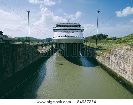 Cruise ship enters Miraflores Locks at Panama Canal. April 24 2013 - Panama