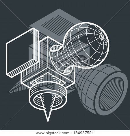 Vector Abstract 3D Geometric Shape, Polygonal Figure.