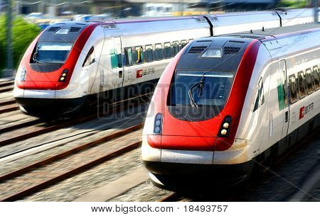 Train series - Two generic trains on a railway track.