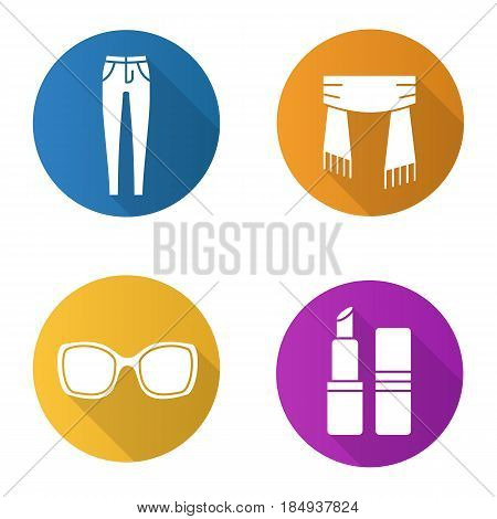 Women's accessories flat design long shadow icons set. Skinny jeans, scarf, lipstick, sunglasses. Vector silhouette illustration