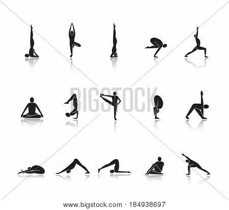 Yoga asanas drop shadow black icons set. Sarvangasana, halasana, bakasana, uttanasana, siddhasana, vrikshasana, vrishchikasana yoga positions. Isolated vector illustrations