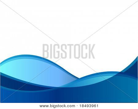 Blue wave vector against a white background.