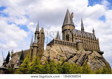 Osaka, Japan - May 3, 2017: Photo Of Hogwarts School Of Witchcraft And Wizardry Replica At The Wizar