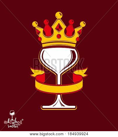 Sophisticated luxury wineglass with golden imperial crown and decorative curved ribbon. Royal vector goblet. Rendezvous conceptual illustration.
