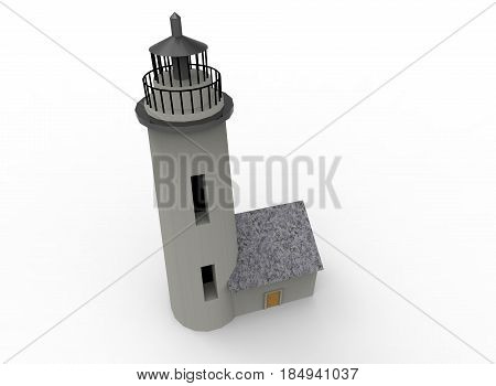 3d illustration of beacon. white background isolated. icon for game web.