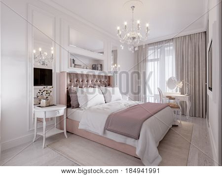 Spacious and Bright Modern Contemporary Classic Bedroom Interior Design with Large Window White walls Mirror Panels and White Elegant Furniture. 3d illustration