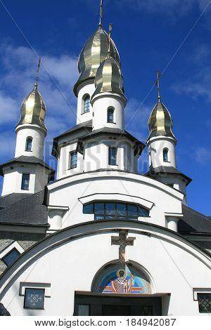 Church in the Ukrainian village. Buki Kiev region Ukraine.Orthodox church built in a modern style.