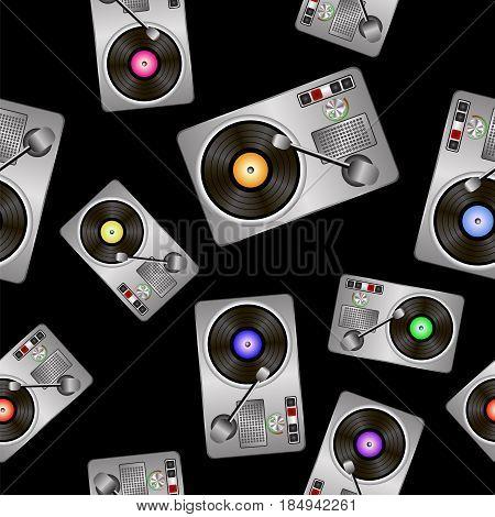 Vinyl Record Players Seamless Pattern on Black Background