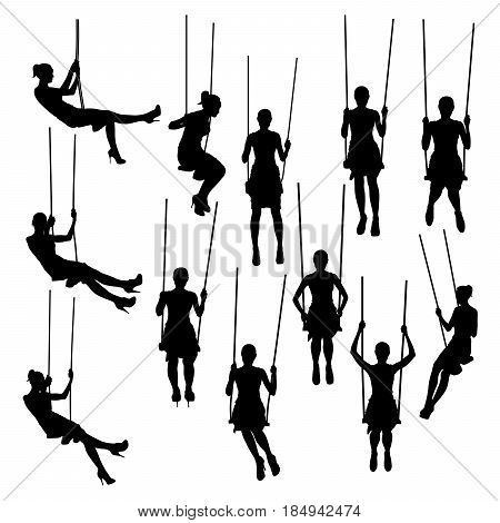 Women silhouettes swinging on swing collection vector illustration. Slim girl in different poses isolated on white background.