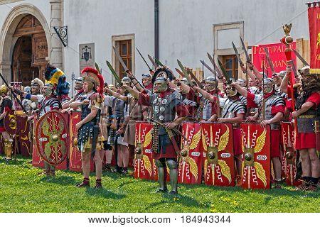 ALBA IULIA ROMANIA - APRIL 29 2017: Roman soldiers in battle costume present at APULUM ROMAN FESTIVAL organized by the City Hall.