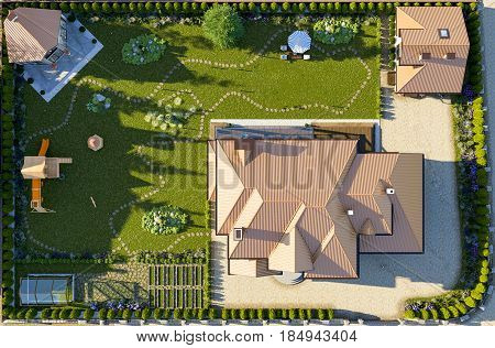 luxury family house with landscaping on the backyard double garage sauna barbecue gazebo large green lawn playground for children. Top view. 3d rendering