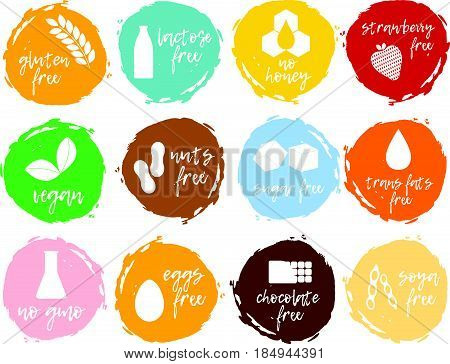Set Of Food Labels - Allergens, Gmo Free Products. Food Intolerance Symbols Collection.