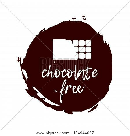 Chocolate Free Label. Food Intolerance Symbols. Vector Illustration