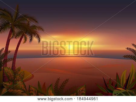 Sunset on tropical island. Palm trees, sea and beach. Vector cartoon illustration