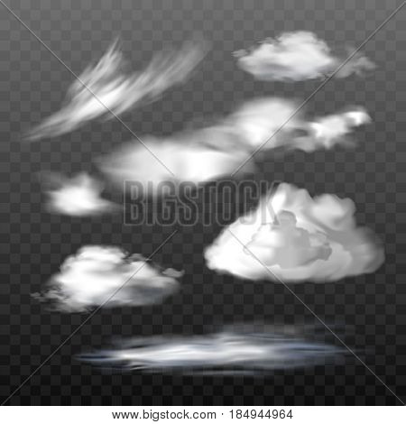 A set of vector illustrations of translucent clouds of various types in a realistic style. Design elements