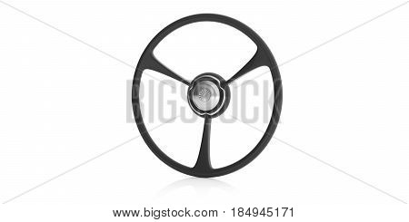 Classic Car Steering Wheel Isolated On White. 3D Illustration
