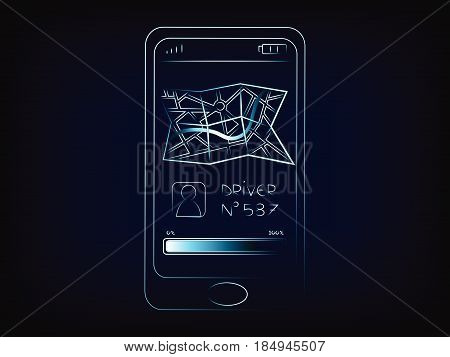 smartphone with driver and map icon on the screen concept of taxi and chaffeur apps (vector on mesh background)