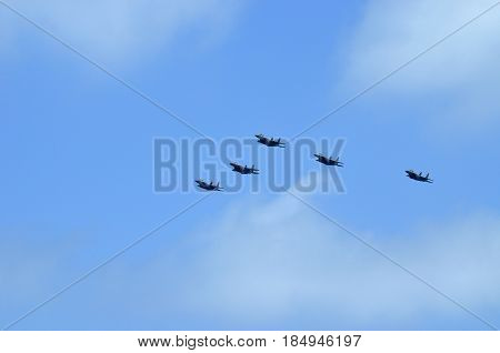 air Force parade in the sky of Israel Link fighter planes fighter-bombers