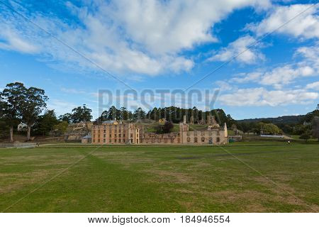 Tasmania, Australia - April, 2017: Penitentiary exterior at Port Arthur Historic site in Tasmania, Australia on April 12, 2017. Constructed in 1843 as flour mill, converted into penitentiary in 1857