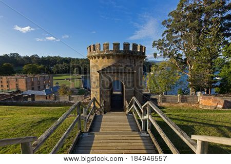 Tasmania, Australia - April 12, 2017 : Guard Tower as a ruin on Settlement Hill at Port Arthur Historic site in Tasmania, Australia on April 12, 2017. It was built in 1842 as military precinct