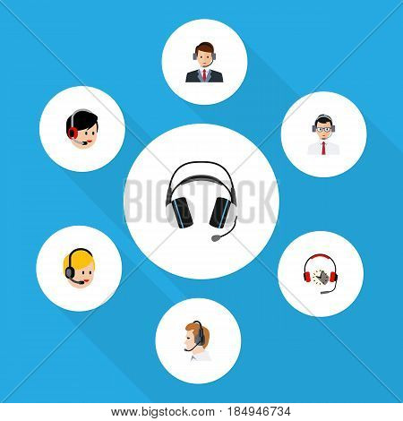 Flat Telemarketing Set Of Help, Call Center, Telemarketing And Other Vector Objects. Also Includes Hotline, Secretary, Help Elements.