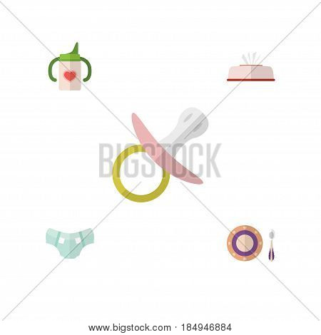 Flat Kid Set Of Nursing Bottle, Nappy, Tissue And Other Vector Objects. Also Includes Nursing, Pacifier, Nappy Elements.
