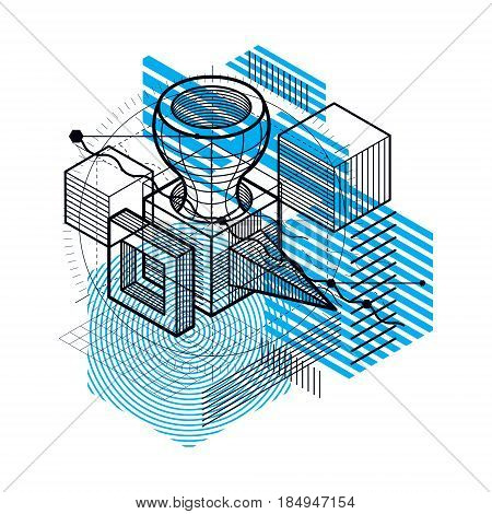 Abstract Design With 3D Linear Mesh Shapes And Figures, Vector Isometric Background. Cubes, Hexagons
