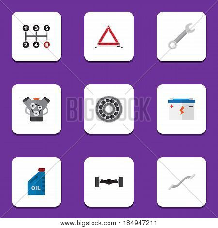 Flat Auto Set Of Petrol, Accumulator, Coupler And Other Vector Objects. Also Includes Petrol, Bearing, Warning Elements.