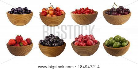 Collage of different fruits and berries isolated on white. Set of strawberries raspberries currants blackberries gooseberries and cherries. Sweet and juicy berry with copy space for text. Ripe strawberries close-up. Background berry.