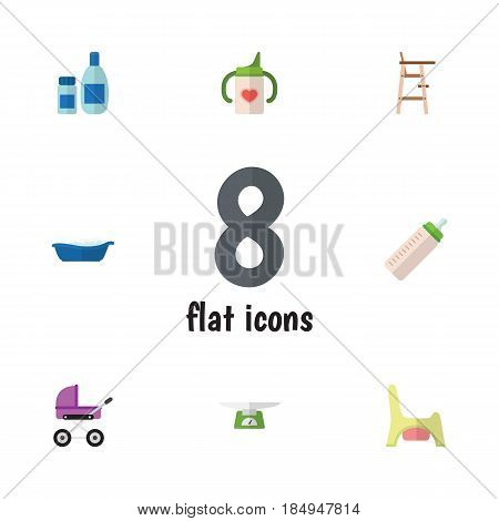 Flat Kid Set Of Feeder, Toilet, Bathtub And Other Vector Objects. Also Includes Pram, Potty, Bathtub Elements.