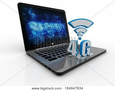 4G network on laptop. 4G concept. 3d render