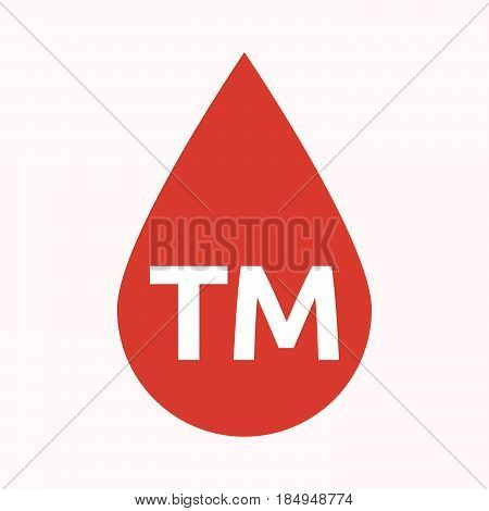 Isolated Blood Drop With    The Text Tm