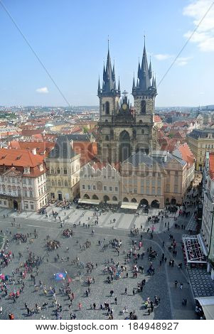 View from the town hall tower on the old town square of Prague
