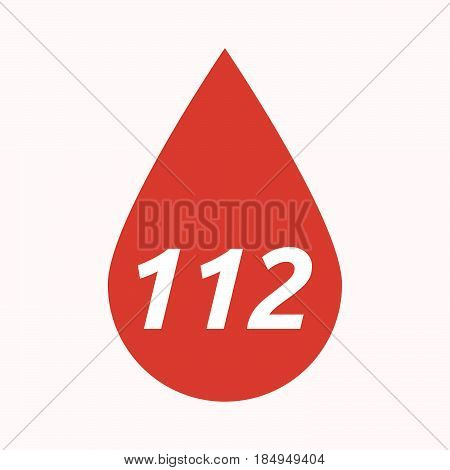 Isolated Blood Drop With    The Text 112